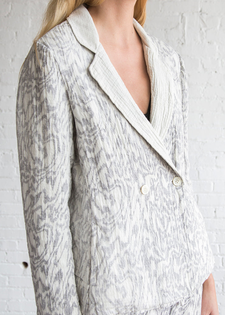 Raquel Allegra Moire Reversible Blazer Dirty White Print