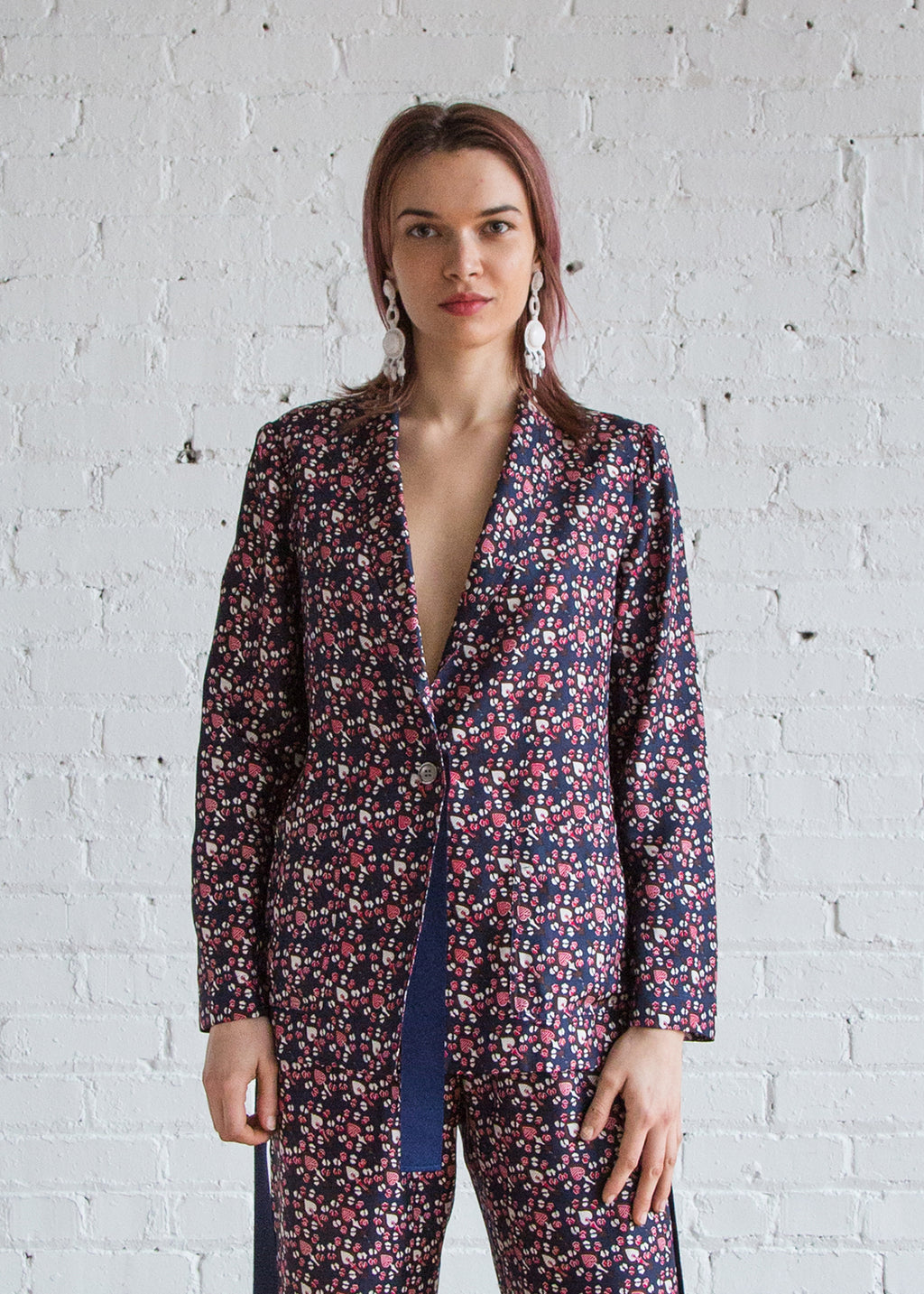 Ribbon Blazer in Navy Red Paisley - SOLD OUT