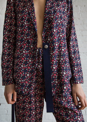 Ribbon Blazer in Navy Red Paisley