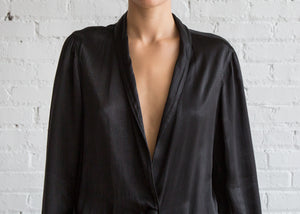 Raquel Allegra Pebble Satin Shrunken Blazer Black