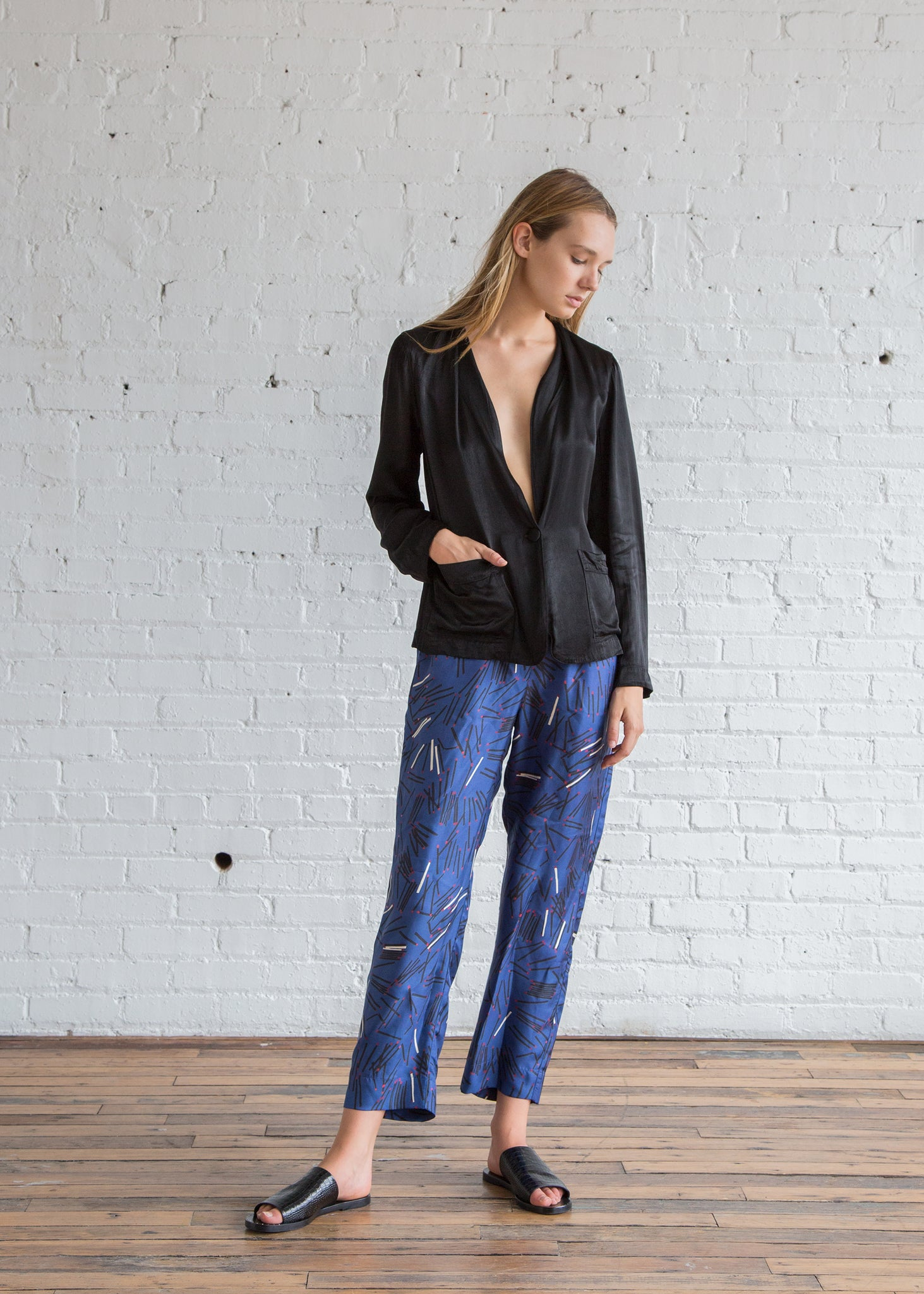 Raquel Allegra Matchstick Twill Ankle Pant Royal Blue