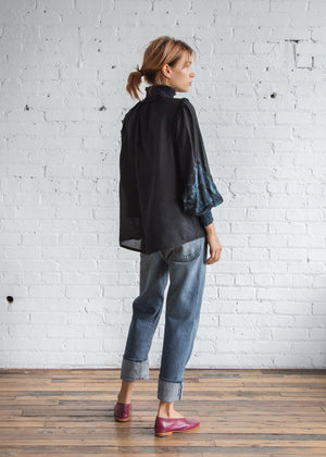 Raquel Allegra Victorian Blouse Silk / Black TD - SOLD OUT