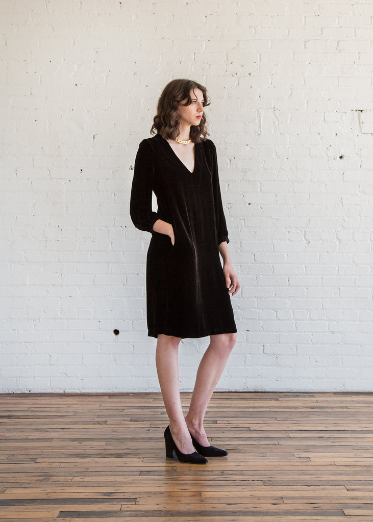 Raquel Allegra V-Neck Dress in Black - SOLD OUT