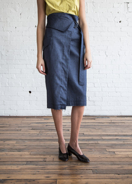 Schai Cargo Wrap Skirt Ink Denim