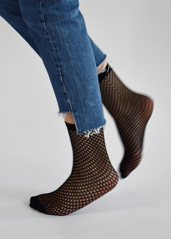 Vera Net Socks in Black