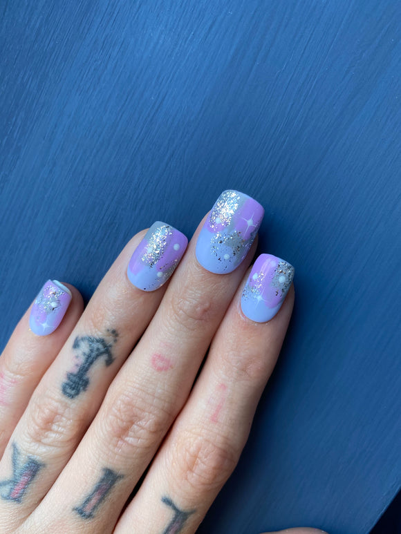 Blue and Lilac Abstract Press On Nails