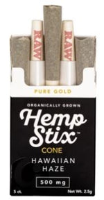 Organic Hemp Stix Cone Hawaiian Haze 500mg 5PACK