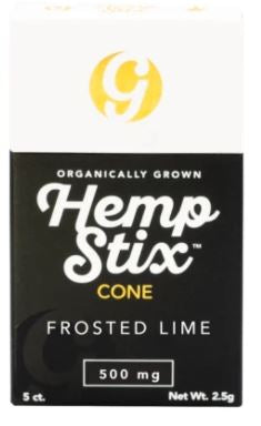 Organic Hemp Stix Cone Frosted Lime 500mg 5PACK