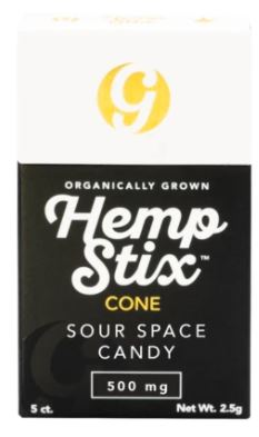 Organic Hemp Stix Cone Sour Space Candy 500mg 5PACK