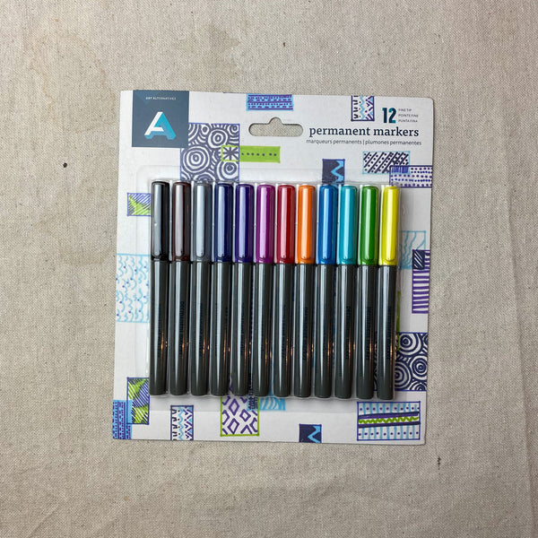Fine Tip Permanent Markers Set of 12