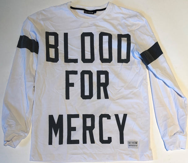 BLOOD FOR MERCY WHITE LONG SLEEVE X DAILY PAPER (MEDIUM)