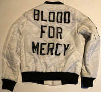 BLOOD FOR MERCY WHITE BOMBER (MEDIUM) WORN BY ME - LIKE A MILLION TIMES