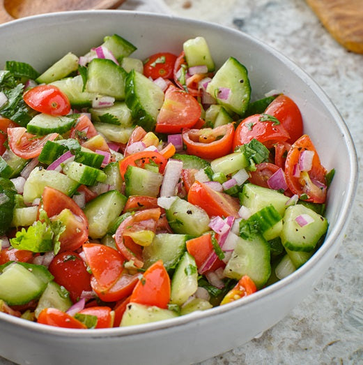 Israeli Salad with Cucumber, Tomato, Red Onion