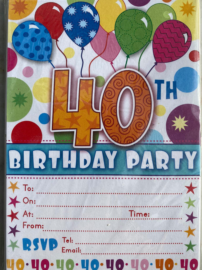 40th Birthday Invitations (20ct)