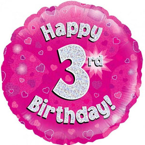 Happy 3rd Birthday Foil Balloon - Pink