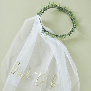 Ginger Ray -  Eucalyptus Bridal Crown With Veil
