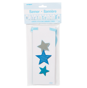 Blue Bunting Christening Block Banner, 7 ft