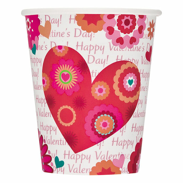 Valentines, Hearts in Bloom, Paper Cups (x8)