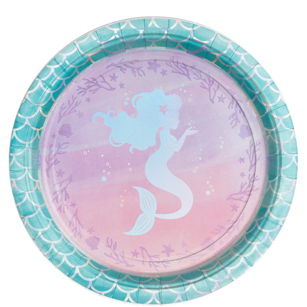 Mermaid Shine Paper Dinner Plates - 23cm (8pk)