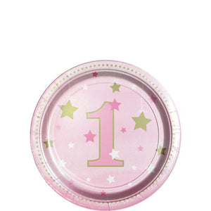 One Little Star Girl 1st Birthday Paper Dessert Plates (8pk)