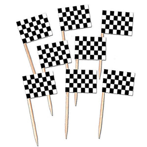 Racing Stripes Chequered Flag Picks (50pk)