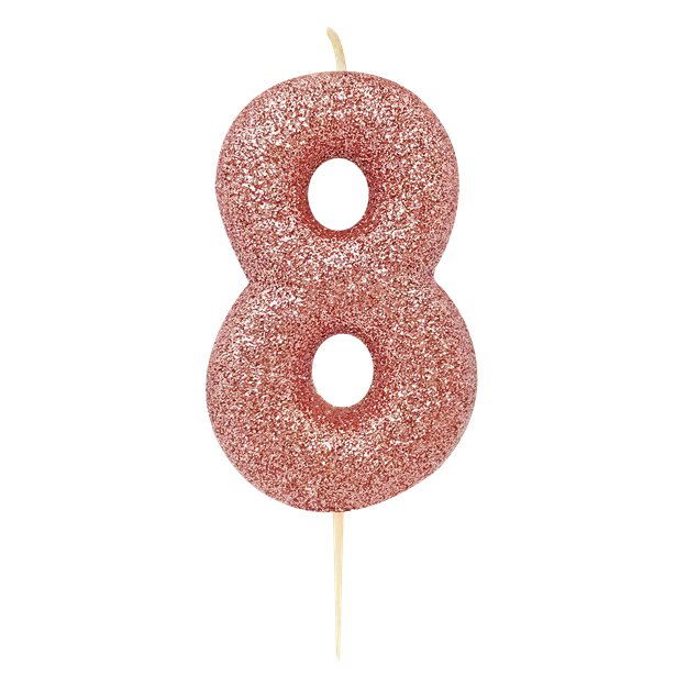 Age 8 Glitter Numeral Moulded Pick Candle Rose Gold