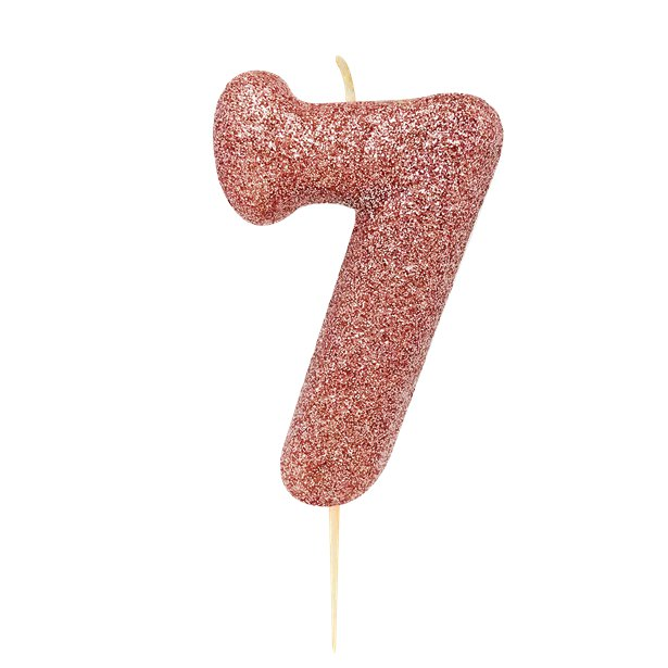 Age 7 Glitter Numeral Moulded Pick Candle Rose Gold