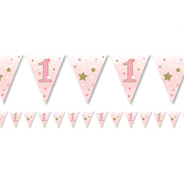One Little Star Girl Paper Flag Bunting