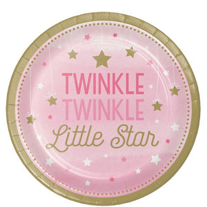 One Little Star Girl Paper Dinner Plates (8pk)
