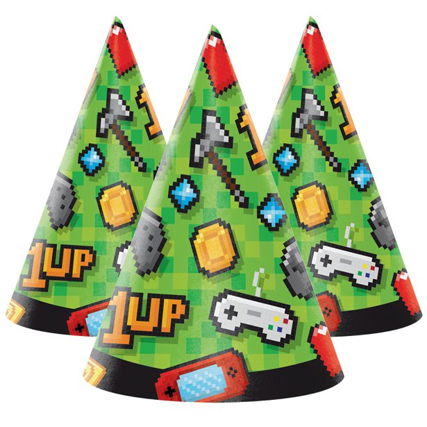 Game On Party Hats (x8)