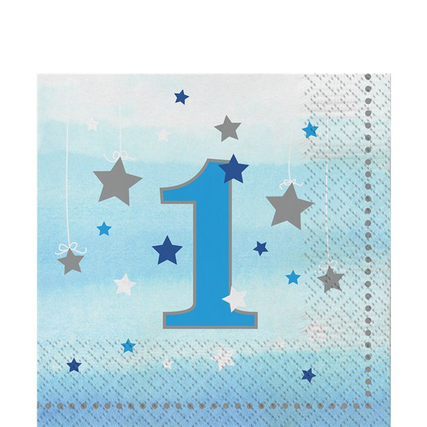 One Little Star Boy 1st Birthday Lunch Napkins (16pk)