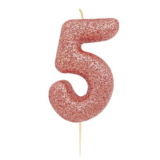 Age 5 Glitter Numeral Moulded Pick Candle Rose Gold