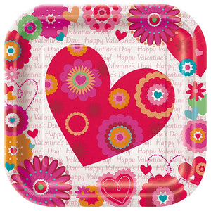 "Valentines, Hearts in Bloom, Square Plate 9"" (x8)"
