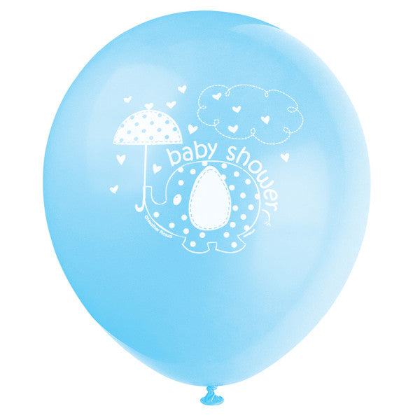 "Umbrellaphants Blue 12"" Latex Balloons, 8ct"