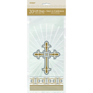 "Gold & Silver Radiant Cross Cellophane Bags 5""x11"", 20ct"