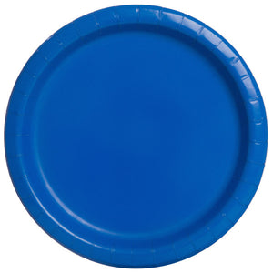 "Royal Blue Solid Round 7"" Dessert Plates, 20ct"