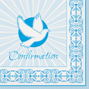 "Blue Radiant Cross ""Confirmation"" Luncheon Napkins, 16ct"