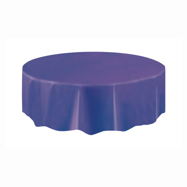 Deep Purple Solid Round Plastic Table Cover, 84""