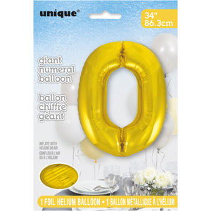 "Gold Number 0 Shaped Foil Balloon 34"", Packaged"
