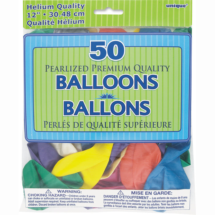 "12"" Pearlized Latex Balloons, 50ct - Assorted Pastel"