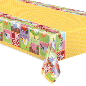 "Farm Party Rectangular Plastic Table Cover, 54""x84"""