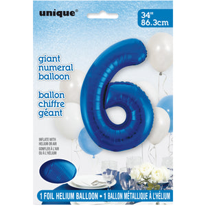 "Blue Number 6 Shaped Foil Balloon 34"", Packaged"