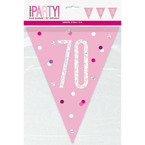 "Age ""70"" Glitz Pink & Silver Prismatic Plastic Flag Banner (9ft)"