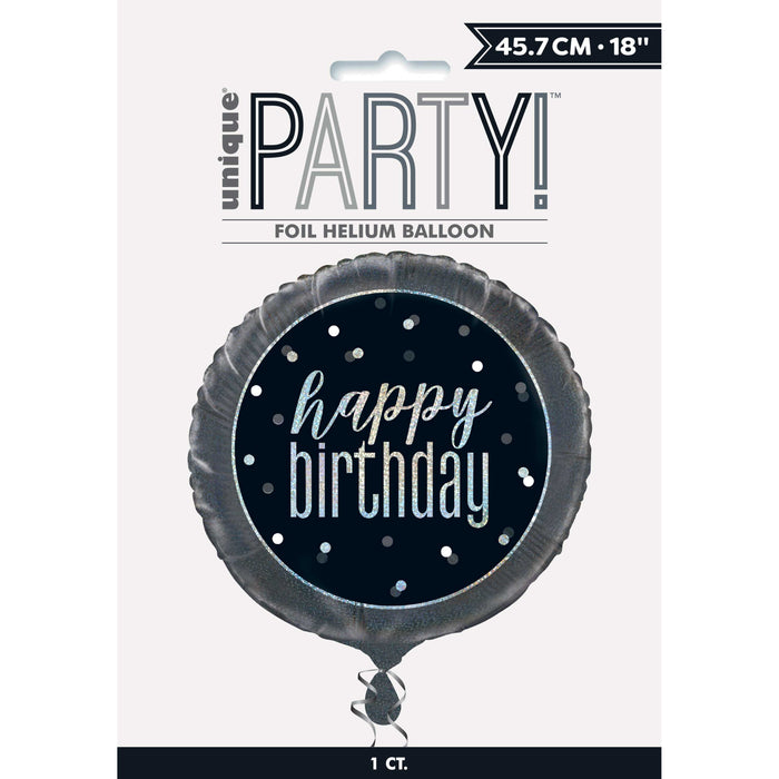 "18"" Glitz Black & Silver Round Foil Balloon Packaged ""Happy Birthday"""