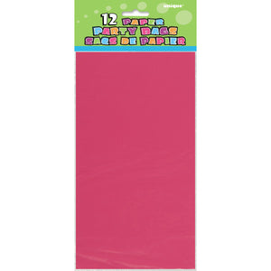 Hot Pink Paper Party Bags, 12ct