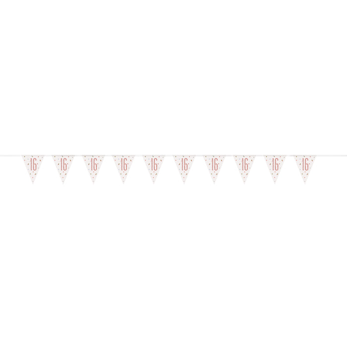 "Age ""16"" Glitz Rose Gold Prismatic Plastic Flag Banner (9ft)"