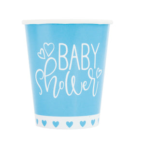 Blue Hearts Baby Shower 9oz Paper Cups, 8ct