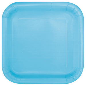"Powder Blue Solid Square 9"" Dinner Plates, 14ct"