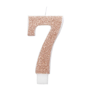Birthday Rose Gold Glitz Glitter Number 7 Birthday Candle