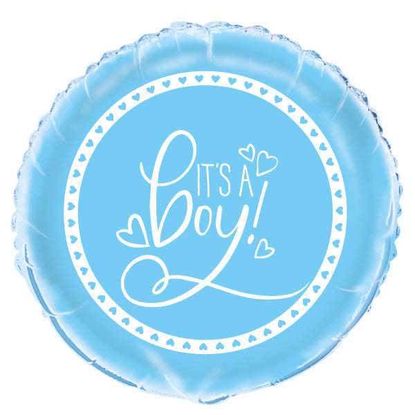 "Blue Hearts Baby Shower Round Foil Balloon 18"", Packaged"